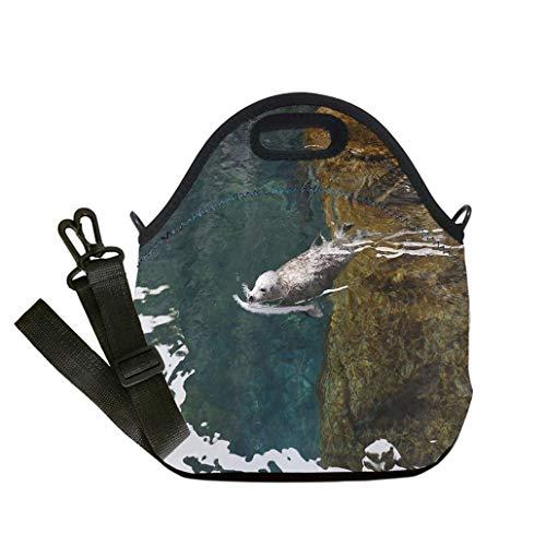 Custom Digital Printing Insulated Lunch Bag,Neoprene Lunch Tote Bags Sea lion swiming in a pool Seward Alaska sealife center custom Stylish Lunch Bag, Multi-use for Men, Women and ()