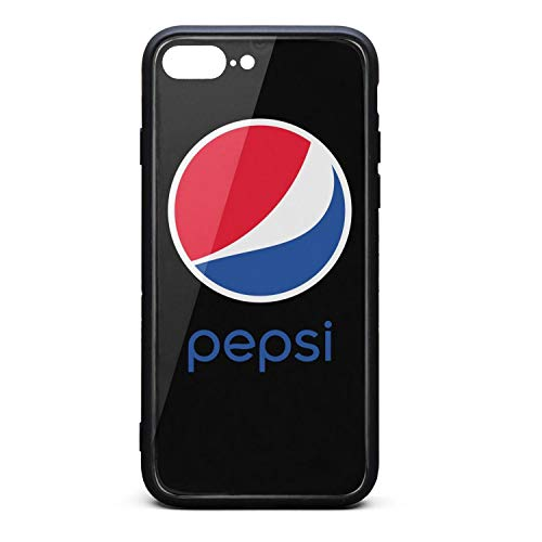 YJRTISF iPhone 7plus/8plus Case Shockproof Case Glass Rear Cover 9H Tempered Glass Back Cover Pepsi-Logo- Scratch Resistant Soft TPU Material Bumper for iPhone 7 Plus iPhone 8 Plus