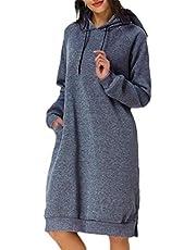 GAGA المرأة طويلة الأكمام هوديي اللباس تونك الصلبة البلوز فضفاض هوديي البلوز