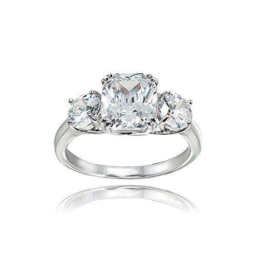 Sterling Silver Cubic Zirconia Cushion Cut 3-Stone Royal Engagement Wedding Ring, Size 7