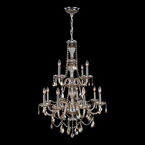 (Brilliance Lighting and Chandeliers Venetian Italian Style 12 Light Chrome Finish and Golden Teak Crystal Chandelier Two 2 Tier)
