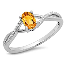 10K Gold Oval Cut Citrine & Round Cut White Diamond Ladies Bridal Split Shank Engagement Promise Ring
