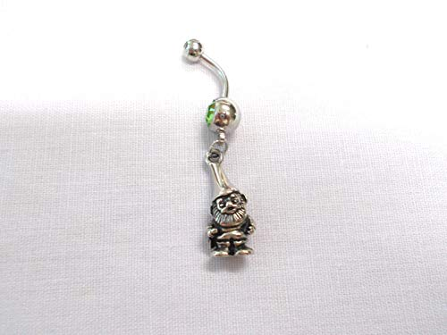 New 3D KNOME Dude - HAT - Beard - Garden - Woods Charm 14g Green Belly Ring ()