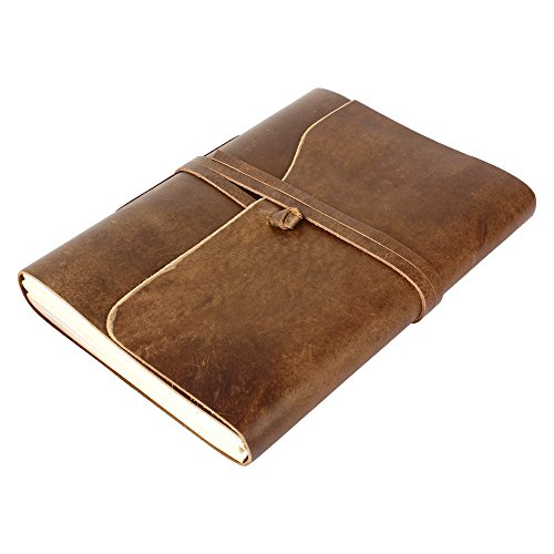 Photo Wedding Large Albums (Rustic Town Genuine Leather Photo Album with Gift Box - Scrapbook Style Pages (Large))