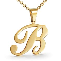 Besteel Womens Mother and Daughter Stainless Steel Alphabet Initial Letters Pendant Necklace From A-Z