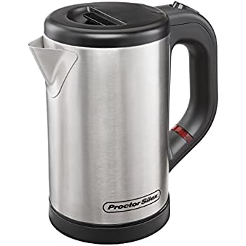 Proctor Silex Compact Electric Tea Kettle, Water Boiler & Heater.5 L, Cordless, Auto-Shutoff and Boil-Dry Protection, Stainless Steel (40940)