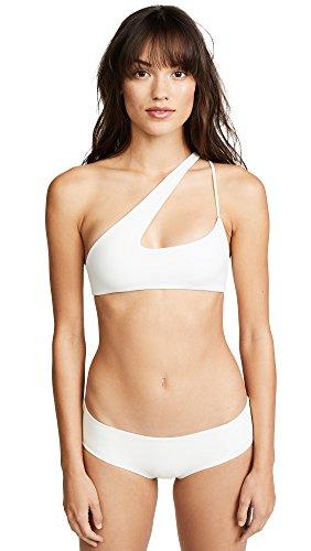 MIKOH Women's Queensland Cross Shoulder Bikini Top, Bone, Off White, White, - Cross Bone