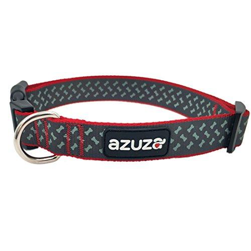 azuza Adjustable Fashion Dog Collar,Laser Printing Dog Bones Pattern,Red,Medium