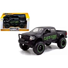 New 1:24 W/B JUST TRUCKS OFF-ROAD EDITION - MATTE BLACK 2011 FORD F-150 SVT RAPTOR WITH GREEN DECALS Diecast Model Car By Jada Toys