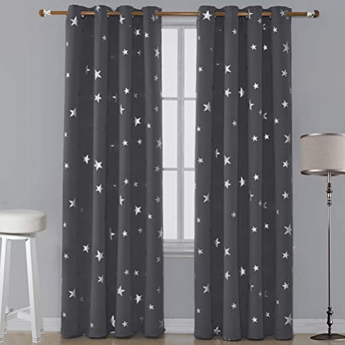 Utopia Decor Dark Grey Blackout Curtains with Silver Star for Nursery Room Grommet Thermal Insulated Curtains Window Blinds for Living Room 52W x 84L Inch 2 Panels