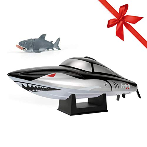 FUNTECH Shark RC Boat Super Speed 40km/h with Reverse Function 2.4 GHz Radio Remote Controlled Boat with Self-righting Auto Roll Back, for Kids Adults for Outdoor Adventure