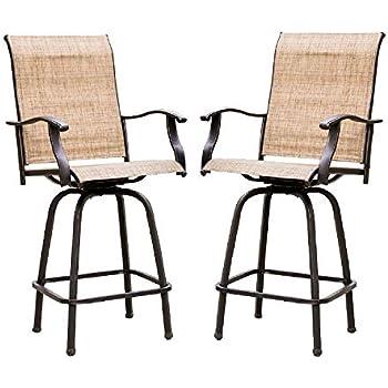 Amazon.com: LOKATSE HOME 2 Piece Swivel Bar Stools Outdoor