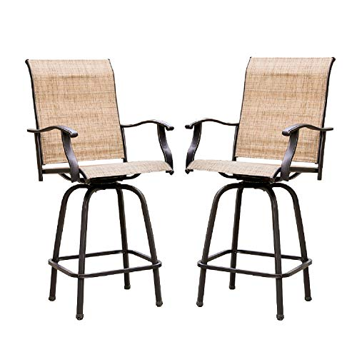 LOKATSE HOME 2 Piece Swivel Bar Stools Outdoor High Patio Chairs Furniture with All Weather Metal Frame, Beige-2chairs (Patio Stools Bar)