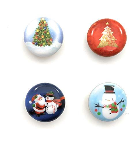 Snap Charm Christmas Set of 4 Painted Enamel 20mm Snowman Santa Trees