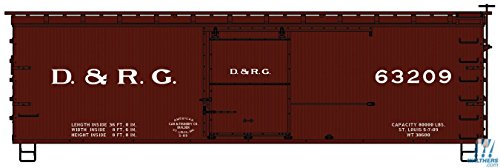 36' DOUBLE-SHEATHED WOOD BOXCAR, STEEL ROOF, ENDS, STRAIGHT UNDERFRAME - KIT -- DENVER & RIO GRANDE 63209 (BOXCAR RED) ()
