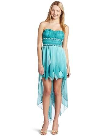 My Michelle Juniors Strapless Dress, Aqua, 3