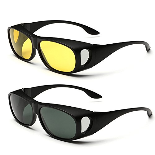 2 Value Pack, HD Polarized Night Vision Wraparounds Windproof + Sunglasses UV400 (Black, Yellow + - Hd Around Sunglasses Vision Wrap