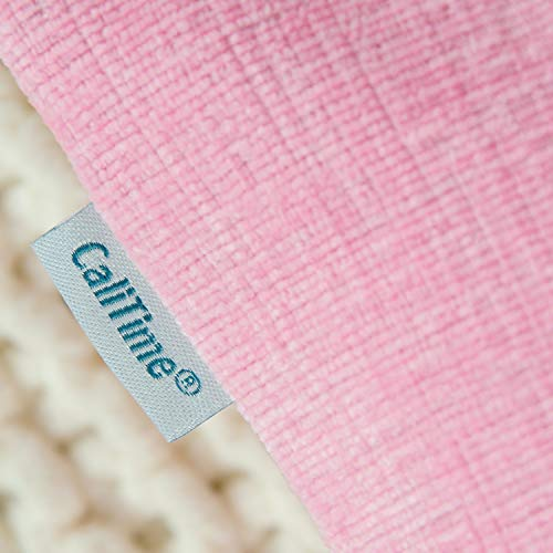 CaliTime Pack of 2 Cozy Throw Pillow Covers Cases for Couch Sofa Home Decoration Solid Dyed Soft Chenille 16 X 16 Inches Candy Pink