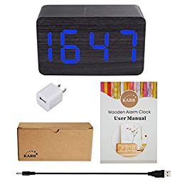 KABB Black Wood Grain with Blue LED Light Alarm Clock - Shows Time and Temperature - Good Sound Control - Latest Generation (USB/4xAAA) - Excellent Size - Made of Natural Material