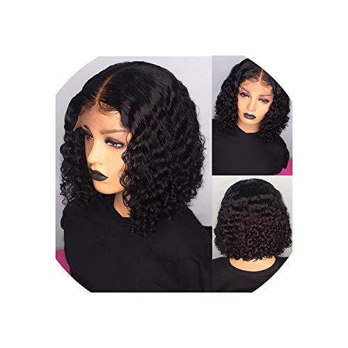 Short Human Hair Wigs Pre Plucked Curly Blonde Lace Front Bob Wig Deep Part 13X6 Brazilian Remy Wig,Natural Color,10Inches