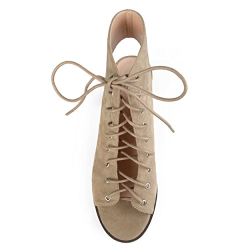 Journee Collectie Dames Lace-up Faux Suede Hoge Hak Booties Taupe
