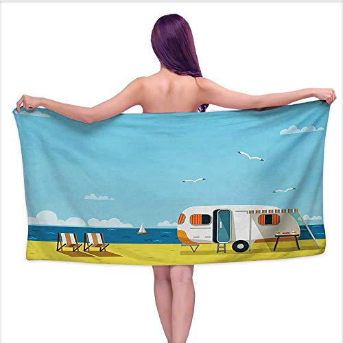 Bensonsve Bath Towel wrap for Women Seaside,Illustration of Summertime Caravan Coastline Clouds Seagulls Scenery Print,Aqua Navy Yellow,W28 xL55 for Men red