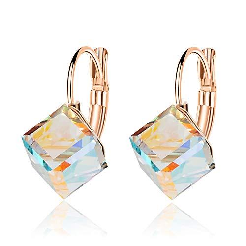 (Cube Swarovski Crystal Earrings for Women Girls 14K Gold Plated Leverback Dangle Hoop Earrings (Aurora Borealis))