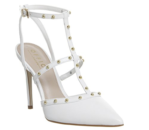 Office Hey Hey T Bar Point Court Heels White Leather With Studs
