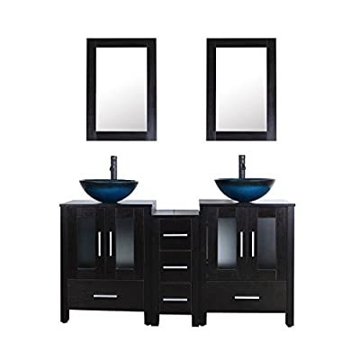 "60"" Double Top Black Bathroom Vanity Cabinet and Sink Combo w/Mirror Faucet and Drain"