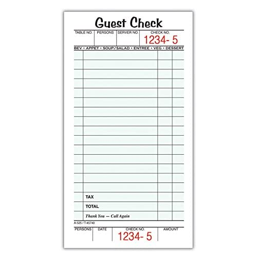 """Adams Guest Check Pads, Single Part, Perforated, White, 3-2/5"""" x 6-1/4"""", 50 Sheets/Pad, 10 Pads/Pack (525SW) for sale"""