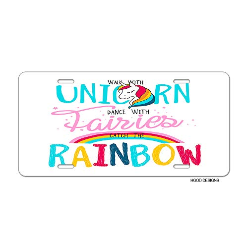 f32f593692836 HGOD DESIGNS Unicorn License Plate,Cute Magical Unicorns with Funny Girl  Quote Walk with Unicorn License Plate Decorative Front Plate Car Tag 6