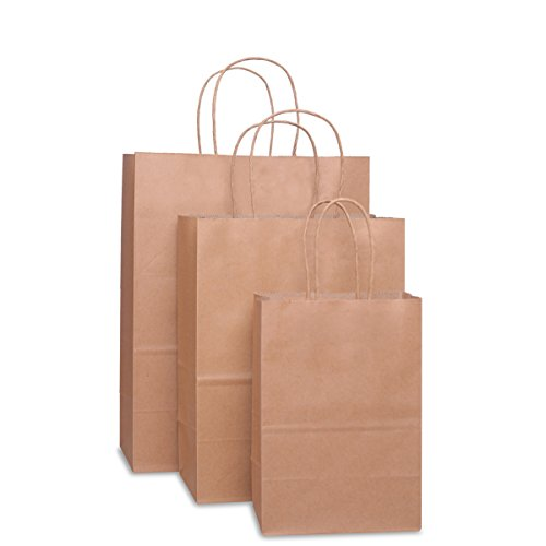 Bags 5x3x8& 8x4.75x10& 10x5x13 25 Pcs Each, Gift Bags, Kraft Bags,Shopping Bags with Handles, Paper Shopping Bags, Craft Bags, Merchandise Bags, 100% Recyclable Paper ()