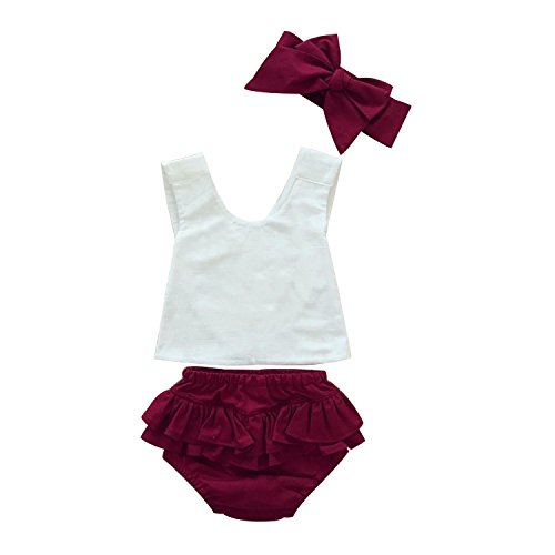 (Mud Kingdom Baby Girl Outfits White Tops and Ruffle Bloomers Red 18)