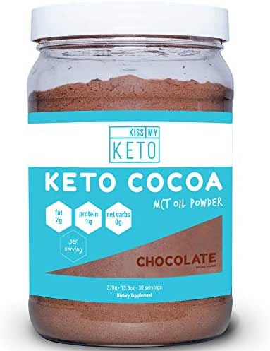 Kiss My Keto Keto Cocoa - Sugar Free Hot Keto Chocolate C8 MCT Oil Powder for Low Carb Ketogenic Diet, Derived Solely from Coconuts, 30 Servings, Easy to Mix Absorb Digest, Get Into Ketosis