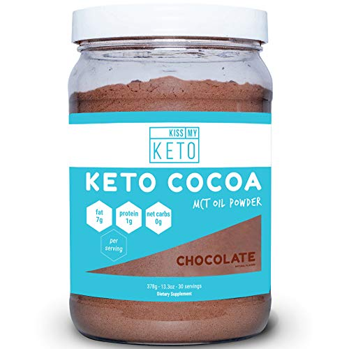Kiss My Keto Keto Cocoa - Sugar Free Hot Keto Chocolate C8 MCT Oil Powder for Low Carb Ketogenic Diet, Derived Solely from Coconuts, 30 Servings, Easy to Mix Absorb ()