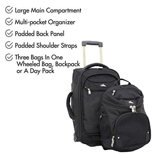 "High Sierra AT3 22"" Carry-On Wheeled Backpack, Black"