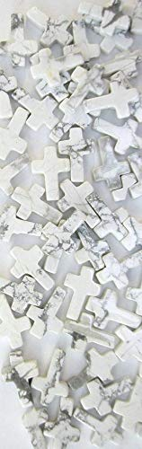 White Howlite 10x15mm Cross Beads (Package of 16 Beads)