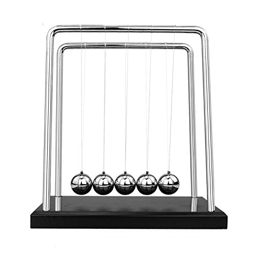 KateDy Newton's Cradle with Black Wooden Base,7 1/4