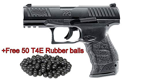 T4E Umarex .43cal Walther PPQ Paintball Pistol Black semi auto CO2 Magazine W/Free 50 RUBBERBALLS ()