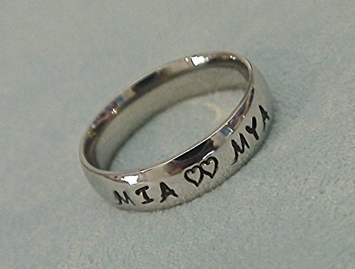 d920925fc9 Personalized Mother's Ring~Couple's Ring~Hand Stamped~Engraved~Any Names~2,  3, 4 Names~Hearts~Date Option~Gold, Rose Gold, Silver, Coffee, Black or  Blue ...