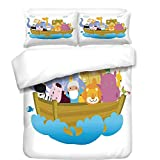iPrint Duvet Cover Set,Religious,Religious Story the Ark with Set of Animals in the Boat Journey Faith Cartoon,Multicolor,Best Bedding Gifts for Family Or Friends