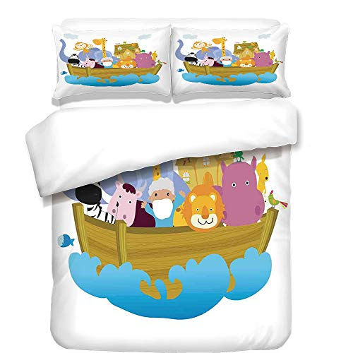 iPrint Duvet Cover Set,Religious,Religious Story the Ark with Set of Animals in the Boat Journey Faith Cartoon,Multicolor,Best Bedding Gifts for Family Or Friends by iPrint