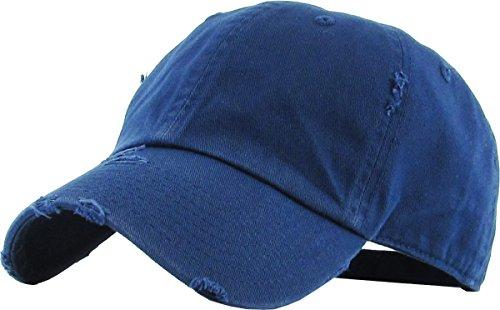 (KBETHOS Vintage Washed Distressed Cotton Dad Hat Baseball Cap Adjustable Polo Trucker Unisex Style Headwear (Vintage) Navy Adjustable)