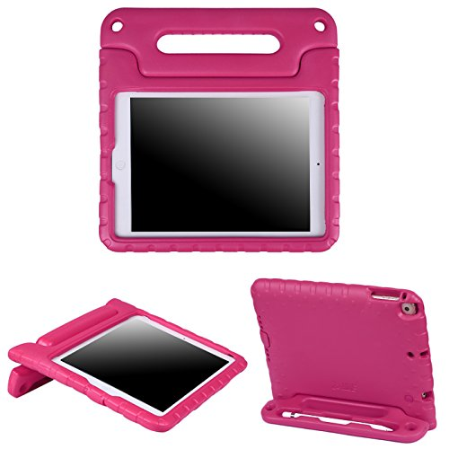 HDE Case for iPad 9.7 inch 2018 / 2017 Kids Shock Proof Bumper Cover Stand with Handle for New 6th Gen Apple Education iPad (Integrated Apple Pencil Holder) and 5th Generation iPad 9.7 - Hot Pink