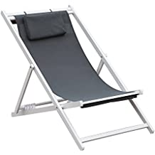 PatioPost Outdoor Portable Patio Beach Folding Adjustable Sling Chair Headrest,Grey