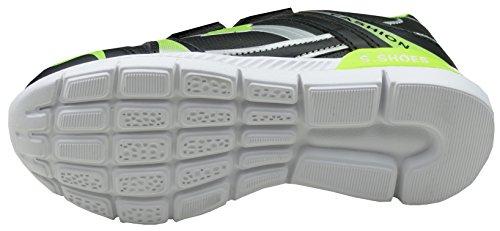 Gibra Zapatillas de Material Sintético Para Niño negro y verde neón