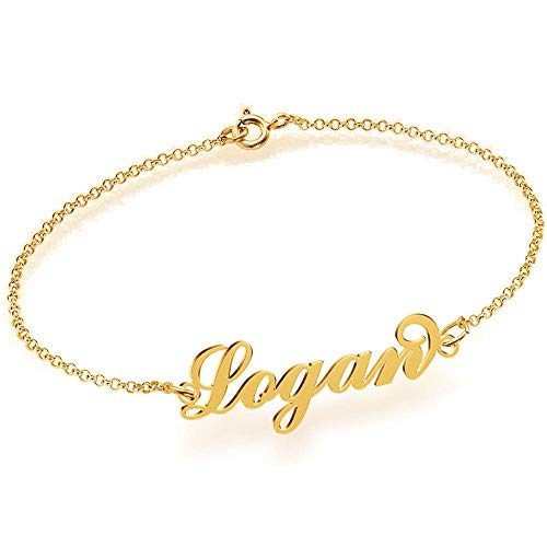 (Gold Name Anklet Charm & Bracelet Personalized 18K Gold Plated 925 Sterling Silver, Custom Made with Any Names for Gift)