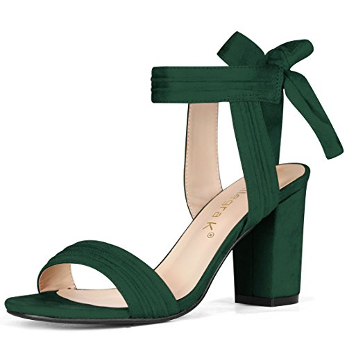 - Allegra K Women's Open Toe Ankle Tie Chunky Heel Dark Green Sandals - 9 M US