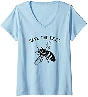 Womens Vintage Bee  - Retro Save The Bees Gift Tee V-Neck T-shirt | Size S - 5XL