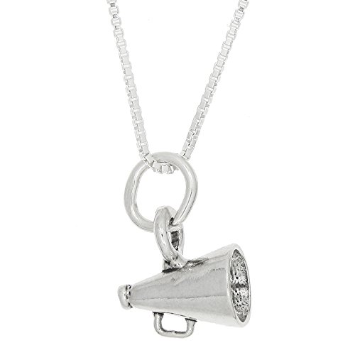 Sterling Silver Small Three Dimensional Cheerleader Megaphone Necklace (16 ()